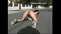 brunette teen nude in public
