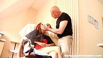 Hot redhead teen Suzana take an old cock