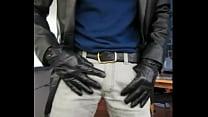 Jerking Off With Leather Gloves Onto Black Flor...