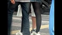 black pantyhose miniskirt