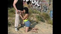 brunette teen hard sex at beach
