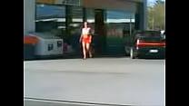 Justine in miniskirt at Rotorua Shell Station