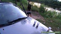 Teens Dulsineya and Jewel outdoors