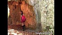 Gang bang sex in cave where lucky girl