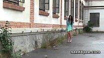 Fresh girls filmed taking a piss in nature