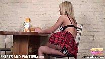 Schoolgirl Sascha flashing her tiny panties