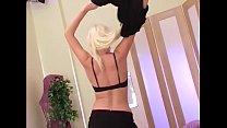 Pretty blonde stripping in sexy black thigh highs