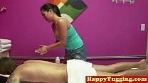 Busty tugging asian masseuse