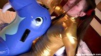 Megan Tames the Inflatable Walrus