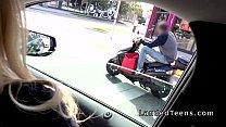 Blonde teen robber bangs stranger in car