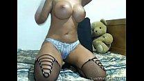 Busty brunette MILF masturbates on webcam