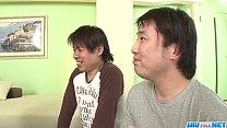 Dashing trio along big tits milf Araki Hitomi