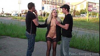 Cute girl public street fucking wit..