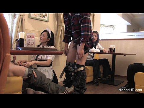Cute asian waitress gives double blowjob